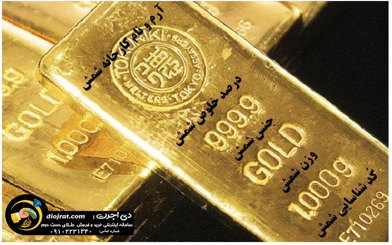 علائم روی شمش طلا